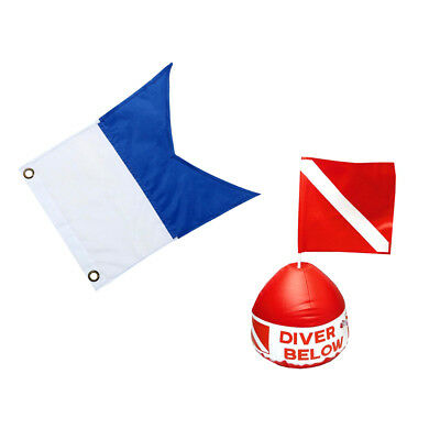 Set of Scuba Signal Alpha Flag + Red & White Flag with Inflatable Float Buoy