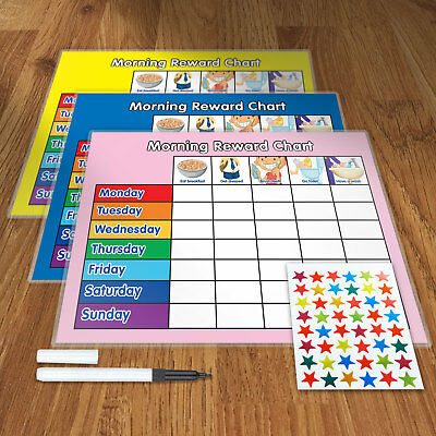 Pack 3 Morning Behaviour Reward Training Reward Chart With Pen & Star Stickers