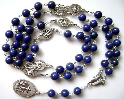 Valuable Natural 8mm Lapis lazuli bead BEADS 7 Seven SORROWS Rosary NECKLACE