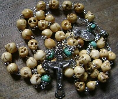 Handmade Bone Skull Flower Turquoise BEADS ROSARY Relic Cross CRUCIFIX NECKLACE