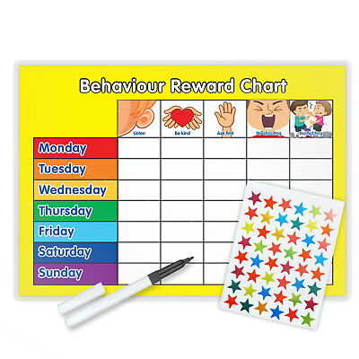 Behaviour Reward Chart With Free Pen & Star Stickers Magnetic Avail Yellow