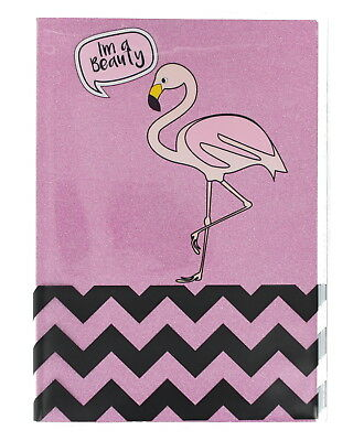 Tropical A5 Exercise Glitter Notebook Lined/Ruled Pages-Flamingo