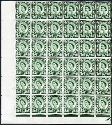 XS21 9d Bronze Green No Wmk 2 Violet Phosphor Bands Cyl 1 No Dot Block 72