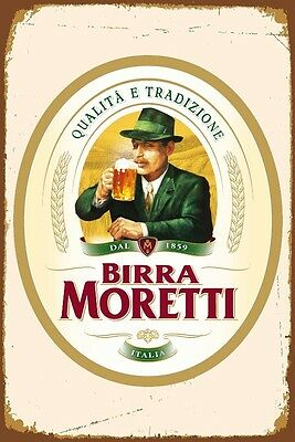 Birra Moretti Italian Italy Beer Pub Shed Bar Man Cave Metal Vintage plaque SIGN