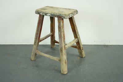 VINTAGE RUSTIC ANTIQUE WOODEN STOOL MILKING EXTRA LARGE No L164