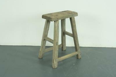VINTAGE RUSTIC ANTIQUE WOODEN STOOL MILKING EXTRA LARGE No L165