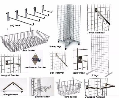 Gridwall® Grid Wall Mesh Chrome Retail Shop Display Panel Accessory Hook Arm Uk