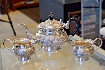 Sterling Silver Teapot, Creamer and Sugar Bowl 1070 Grams