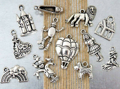 12 WIZARD of OZ Charms, Tibetan Antique Silver Mixed Charm Collection Lot Set