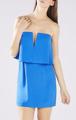 New Bcbg Larkspur Blue Kate Strapless Overlay Dress Lmq68a67