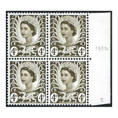 Wales XW8a 4d Olive PVA Violet Phos Block 4 White Spot Before E of Postage