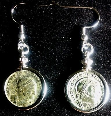 Constantine Great Pair of Earrings AE3 Genuine Ancient Roman Coins Green Patina
