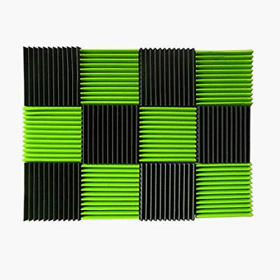 12 Pack Acoustic Wall Panels Green Charcoal Foam Wedges Sound Proof Studio Home