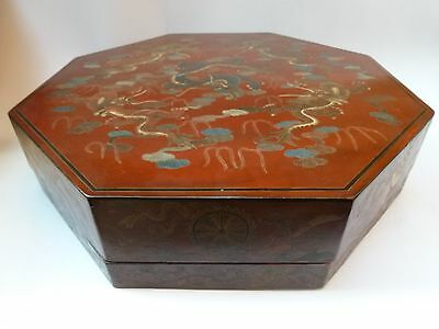 Large Chinese Red Lacquer Covered Octagonal Box w/ Incised Dragons