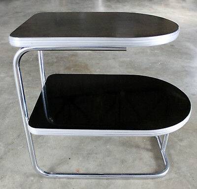 Art Deco Machine Age Streamline Moderne Chrome and Black Two-Tiered End Table by