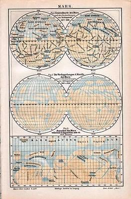 Antique map. MAP OF MARS. 1905