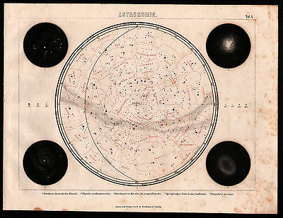 Antique engraving, map. NORTHERN SKY STAR MAP. 1870