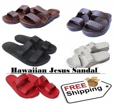 Hawaiian Style Jesus Sandals Womens Slide Brown Chestnut White Black Flat Flip