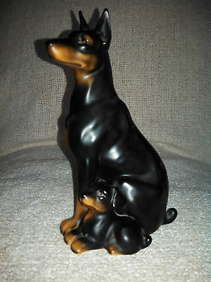 Vintage Doberman Pinscher Dog And Puppy Figurine Made In Japan Excellent Cond!