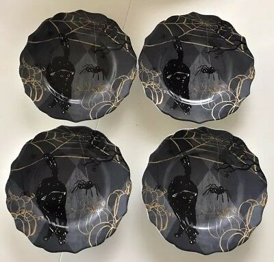 """222 Fifth Scaredy Cat Set of 4 Round 8-1/2"""" Salad Plates New all the same"""