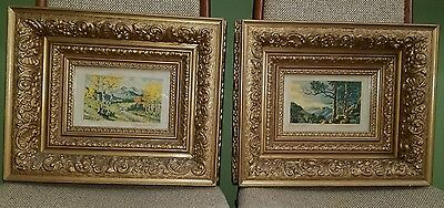 """Lyman Byxbe, """"TEMPLED HILLS"""" PAIR OF RARE COLOR SIGN ART & AMAZING ANTIQUE FRAME"""