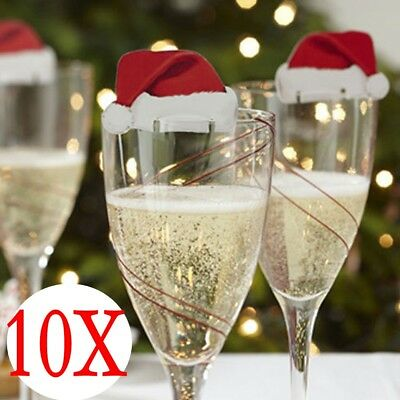 10pcs Xmas Hats Champagne Wine Glass Caps Christmas Holiday Party Decor New Year