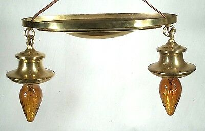 Antique Victorian Oval Back Double Socket Brass Ceiling Light Chandelier