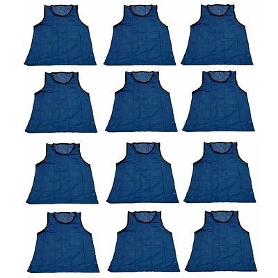 Workoutz Adult Scrimmage Vests Blue (12 Qty) Soccer Pinnies Football Practice