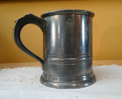 Antique PEWTER TANKARD PINT MUG STEIN Hallmarks B & Co Monogram JC