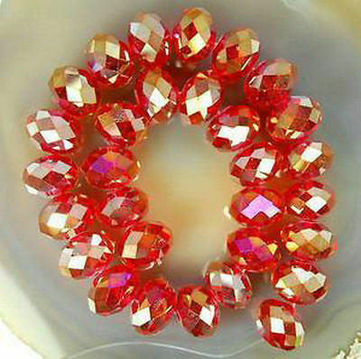 100pcs 4*6mm Red AB Crystal Faceted Abacus Loose Bead