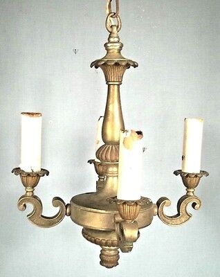 ANTIQUE EARLY 20th CENTURY CLASSICAL REGENCY 4 ARM BRASS CHANDELIER