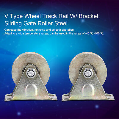 "2pcs 2"" V Type Groove Wheel Track Rail W/ Bracket Sliding Gate Roller Steel SS"