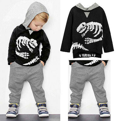 AU Baby Boy Kids Dinosaur Hooded Clothes Hoodies T-shirt Pullover+Pants Outfit