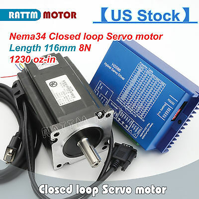 【USA Stock】CNC Kit HSS86 Hybrid Driver+Servo Motor Nema34 8N.m Closed Loop 116mm