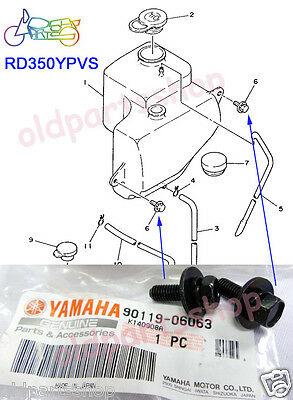 Yamaha RD350LC RZ350 Oil Tank Bolt x2 NOS 2T TANK HOLDER Mounting WASHER BOLTS