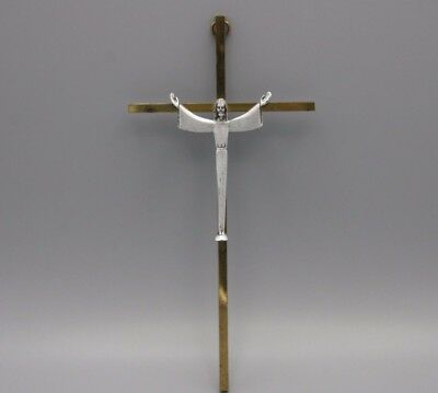 Vtg Mid Century Crucifix Brass and Cast Pewter Catholic Cross