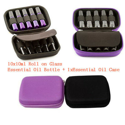 10 Roller Bottles+10ml Essential Oil Case Carry Holder Storage Aromatherapy Bag