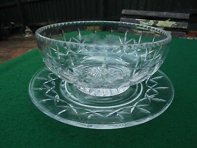 Vintage Hand Cut English Stuart Crystal Bowl And Stand Set