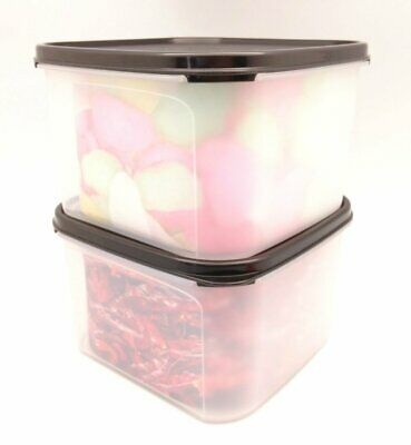Tupperware 2X Modular Mates Square II Black Seal Airtight Container
