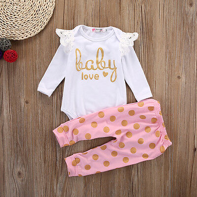 AU Baby Girls Infant Newborn Playsuit Romper Jumpsuit+Pants Outfit Clothes 0-18M