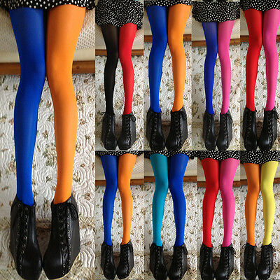 AU Women Lady Patchwork Footed Tights Stretchy Pantyhose Stockings Elastic Socks