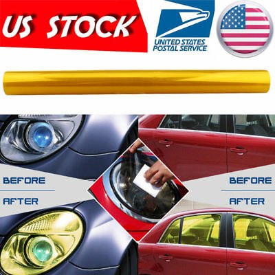 "Universal Car 12""x60"" Headlight Tailight Fog light Tint Film Vinyl Yellow Golden"