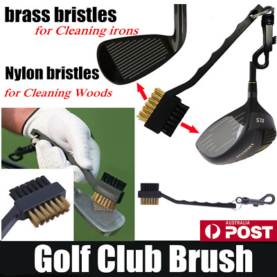 Black Dual Bristles Golf Club Groove Ball Cleaning Brush Cleaner&Snap Clip DB