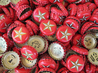 100 ((( Red Lone Star ))) Beer Bottle Caps (No Dents). Free Shipping
