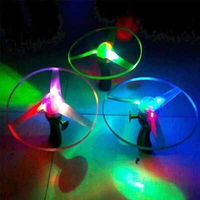 Spin LED Light Flying Saucer Frisbees Helicopter UFO Kids Lighting Toy