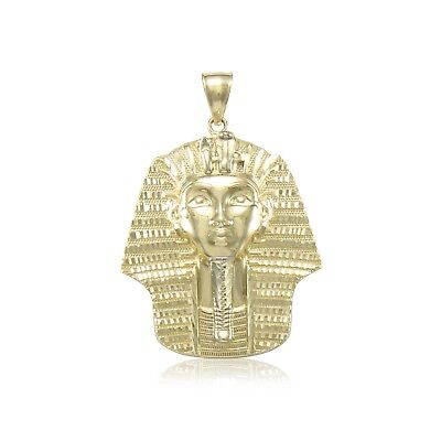 10K Solid Yellow Gold Pharaoh Head Pendant - Egyptian King Tut Necklace Charm