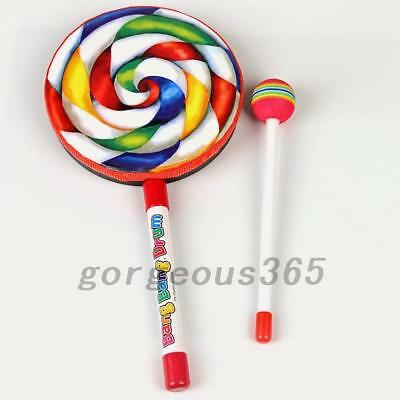 Lollypop Wooden Hand Drum Hammer Kids Percussion Music Early Education Toy Gift