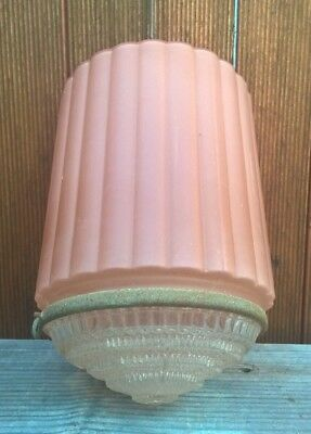 Antique 1920s Art Deco Skyscraper Light Shade - Vintage Glass Ceiling Lamp