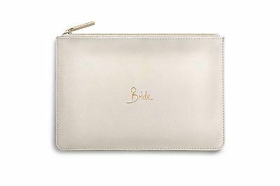 Katie Loxton Perfect Pouch Metallic White - 'BRIDE' with gift bag