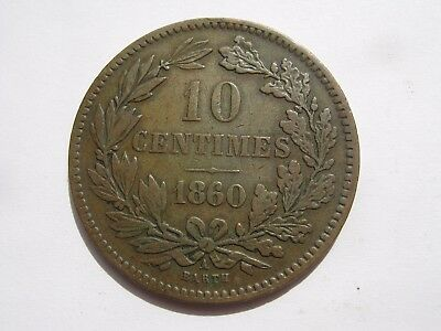 Luxembourg 1860 A (Paris) 10 Centimes coin (28)